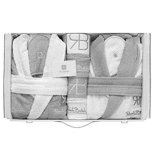 Renato balestra completo bagno asciugamani accappatoi set uomo donna corredo (bianco-grigio)