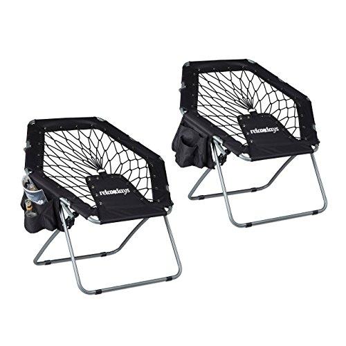 2x Bungee Stuhl WEBSTER, Trampolinstuhl, elastisch, Federung, faltbar, bis 100 kg, Seitentasche, Klappstuhl, schwarz
