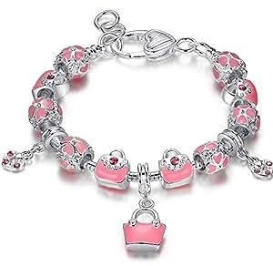 FLORAY Bracciale per le ragazze, moda Borse, rosa cuore trifoglio Fiori, placcato In Argento, Lunghezza: 18 + 2 cm