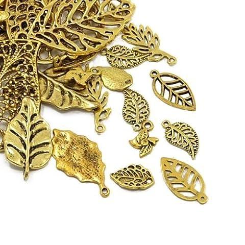 Paket 30 Gramm Antik Gold Tibetanische ZufälligeMischung Charms (Blatt) - (HA07480) - Charming Beads
