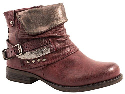 Elara Damen Stiefeletten | Bequeme Biker Boots | Metallic Print Nieten | Chunkyryan 344D-PA-Wine-38
