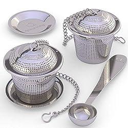 Apace Teesieb (2er Set) mit Teeschaufel und Abtropfschale - Ultrafeines Tee-Ei aus Edelstahl zum Aufbrühen von losen Teeblättern - Teebrüher mit kleiner Maschenweite für einen überlegenen Teegenuss