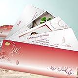 Geburtstagseinladung 40, Silberling Foto 200 Karten, Kartenfächer 210x80 inkl. weiße Umschläge, Rot