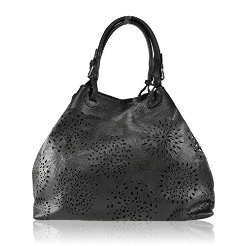 ZETA SHOES Borsa a Spalla Donna in Vera Pelle Made in Italy Laser 40x30x18 MainApps Nero