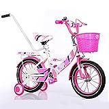 ZCRFY Kindfahrradfahrrad Jungenmädchen Kinderstudent Justierbares Fahrrad Männlich und Weiblich Sicheres Für Kleinkinder High-Carbon Stahl Balance,Pink-14Inches