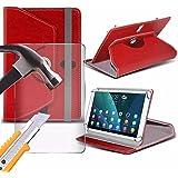 Spyrox - ASUS ZenPad 10 ?(Z300CNL) ( 10.1 Inch ) Tablet-Koffer PREMIUM PU 360 Rotierende Leder-Brieftasche Folio Faux 4 Springs Stand mit gehärtetes Glas LCD-Display Schutzfolie-Red
