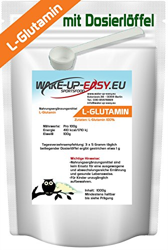 1kg di L-glutammina in polvere, a-amminoacido proteinogenico n-essenziale + cucchiaio dosatore, (1000 g di glutammina pura senza additivi)