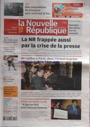 NOUVELLE REPUBLIQUE (LA) [No 19519] du 09/01/2009 - BOURGES ILS CAMPENT DEVANT LA PREFECTURE POUR DEFENDRE LE Q - RECENSEMENT LE CHER GAGNE 247 HABITANTS - ENERGIE TENSIONS SUR LE GAZ AVEC LA CRISE RUSSE - MEHUN C'EST BIEN LE CORPS DE F TIOUCHE - VILLENEUVE GENS DU VOYAGE LA VIE PAR MOINS 12 DEGRES - VIERZON LES VOEUX DU MAIRE - SAINT AMAND UN SCANNER A L HOPITAL - HANDBALL MARTIN GAILLARD DE SAINT MARTIN A TOULOUSE par COLLECTIF