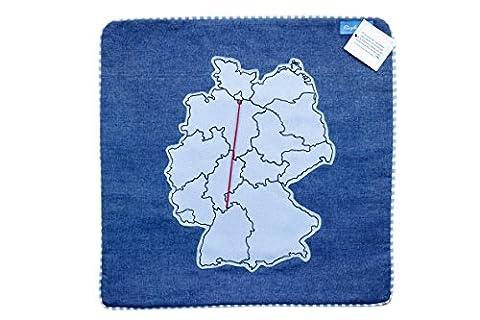 Kissenhülle/Kissenbezug/Kissen Geschenk Fernbeziehung Deutschlandkarte Blau Rote Wolle :38,5 x 38,5 cm Fair Trade (Blaue Gestreifte Kissen)