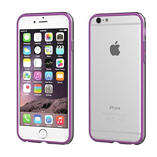 iPhone 8 Hülle / iPhone 7 Hülle - EAZY CASE Silikon Bumper für Apple iPhone 7 & iPhone 8 - Flexible Schutzhülle als Rahmenschutz in Schwarz Lila