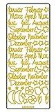 Ursus 593000123 - Kreativ Sticker, Monatsnamen, 5 Blatt, gold