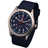 Zeiger Quartz Military Watches Men Sport Watch Analogue Display Date Mens Wristwatch Nylon Band + Gift Box