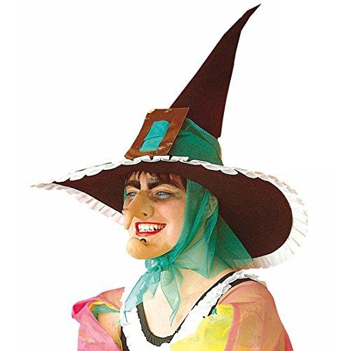 nase mit Warze Hexe Nase Witch Warzennase Grusel Hakennase Böse Zauberin Gumminase Halloween Kostüm Zubehör ()