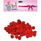 arkCRAFT KID0003 RED Fluffy poms 10mm-Pack of 100
