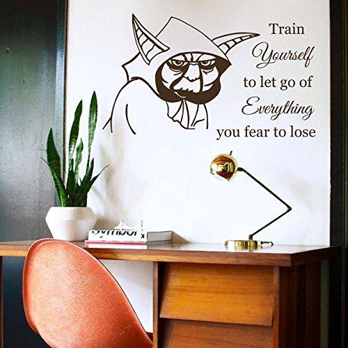 Vinyl Wandtattoo Zitat Train Yourself Let Go of Everything Jedi-Meister Yoda Star Wars Sprüche Sprichwörter Wandaufkleber Wandsticker Fototapete Wanddekoration Kinderzimmer Jugendzimmer Geschenk M179