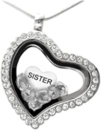 Sister Heart Charm For European Style Charm Bracelets With Truly Charming Sparkle Collection Presentation Gift Box Y22XPt6