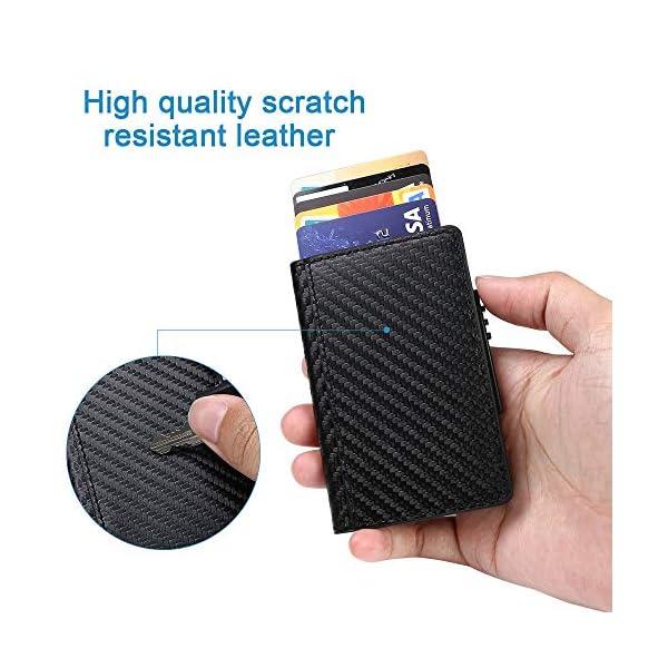 Portafoglio carte di credito metallo, URAQT Portafoglio di protezione per porta carte RFID, ladro di identificazione che… 5 spesavip