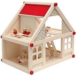 EYEPOWER Maison des Poupées + Mobilier + Personnages | Maison Miniature Deux étages | en Bois Naturel | Facile à Assembler