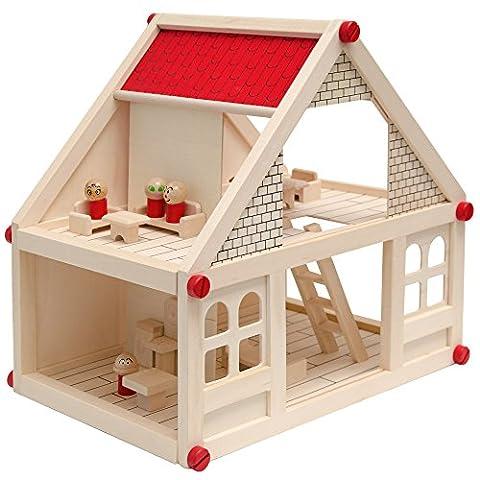 Maison des Poupées + Mobilier + Personnages | Maison miniature deux étages | en Bois naturel | facile à