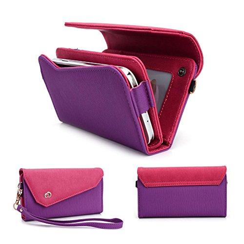 Kroo Lien de série universel femmes portefeuille Wristlet sac à bandoulière Compatible avec de nombreux 4à 12,7cm Étui pour Archos/Blackberry/Blu/Google/HTC Téléphone portable Multicolore - Noir/gri Multicolore - Purple and Magenta