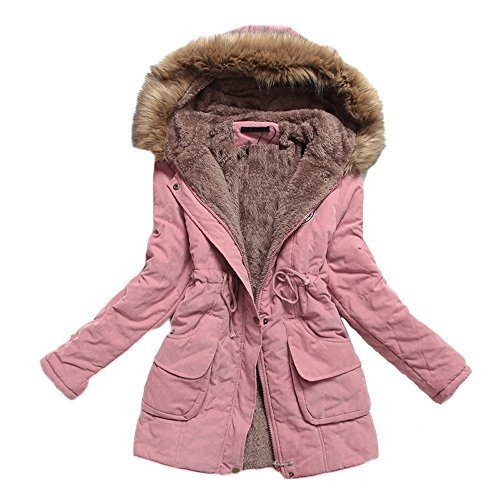CRAVOG Mantel Damen Parka Kapuzejacke Lady Fit Wintermantel Warm Jacke Mit Pelz