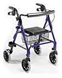 Lightweight Aluminium Folding 4 Wheel Rollator / Zimmer / Walking Aid with Basket and Brakes.