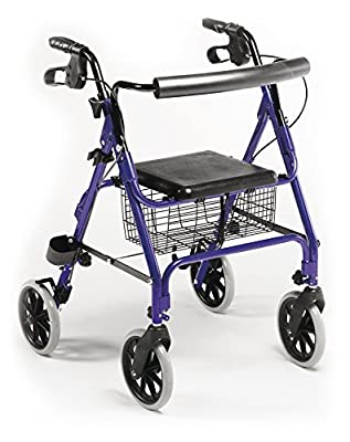 Lightweight Aluminium Folding 4 Wheel Rollator / Zimmer / Walking Aid with Basket and Brakes.
