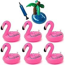 Flamencos Hinchable Flotador Bebidas Flamingo Palmera Titular de Bebida Inflable Piscina Flotante Posavasos de Flotador Bebidas Hinchable Flamenco Rosa ...