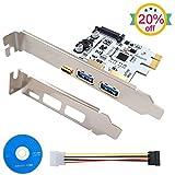 LATTCURE PCI Express Karte PCI-E zu Typ A (2-Port) & Typ C (1-Port) Mini PCI-E USB 3.0 Hub Controller Adapter mit SATA 15-Pin Stromanschluss anschluss Macht