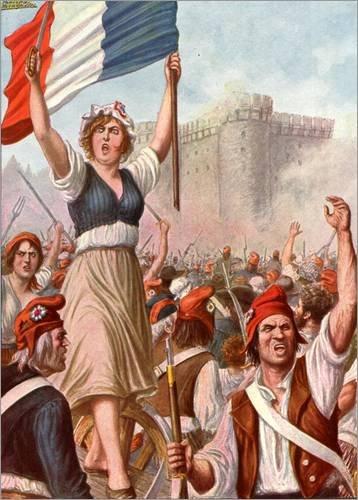 Posterlounge Hartschaumbild 120 x 160 cm: Französisch Revolution - Unter der Bastille von Tancredi Scarpelli/Bridgeman Images