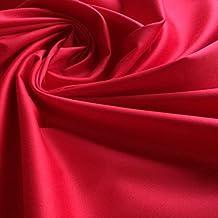 Rojo PLAIN algodón stretch satén tela de sastre–por metro