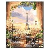 WMMSM Torre de París Pintura Abstracta Diy Pintura de Paisaje Digital por Decoración de Hogar Digital Moderno Calle de la Noche Imagen de Arte de la Pared
