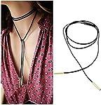 #6: ITS - New Velvet Choker Punk Gothic SILVER Long Black Velvet Chain Elastic Tassel Necklace
