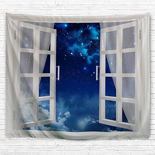 KLOLKUTTA Beach Wandteppich für, Palm Baum Landschaft durch Fenster Hawaii Ocean Art Set Summer Tropical Wand Aufkleber Papier für Schlafzimmer Wohnzimmer 80 X 60 inches Blue Night Sky Window Scene - Palm-baum-muster