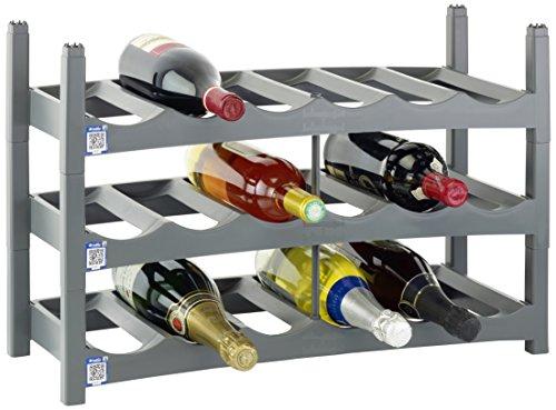 """Rotho 1167208853  Flaschenregal """"Vario"""" - stabiles Weinregal im 9er Set - Weinlagerung für 54 Flaschen - inkl. App my Box für digitale Archivierung des Weinschranks - 60x22x14 cm - Kunststoff (PP) - grau"""