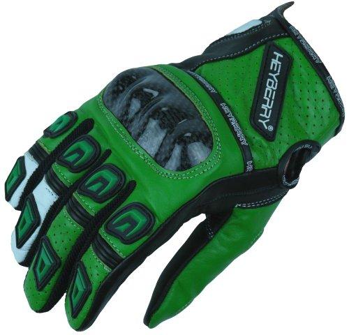 Heyberry Motorradhandschuhe Leder Motorrad Handschuhe kurz schwarz grün Gr. M