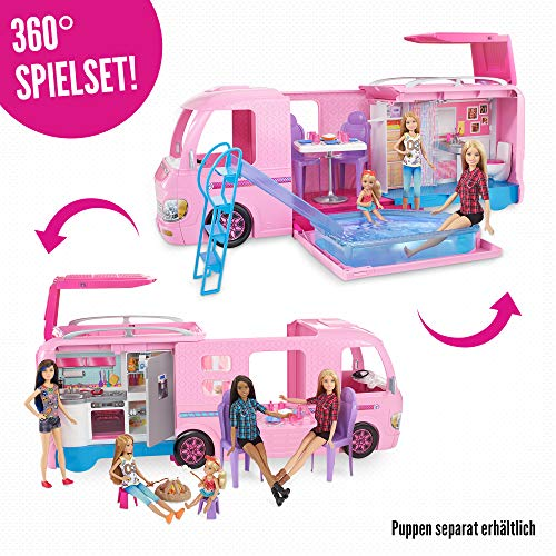 Barbie FBR34 - Super Abenteuer Camper, Puppen Camping Wohnwagen mit Zubehör, Mädchen Spielzeug ab 3 Jahren - 3