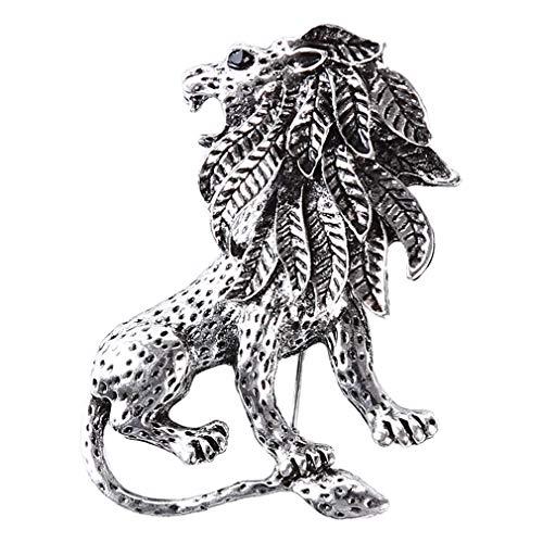 Yinew Lion Brosche Vintage Tierform Abzeichen Persönlichkeit Kleidung Dekoration Zubehör Für Männer, Altes Silber