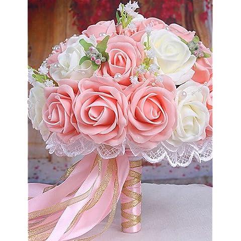 En la decoración del hogar de flores artificiales, un ramo de rosas de simulación 30 PE Boda Boda Ramo de novia sosteniendo flores rosadas y blancas