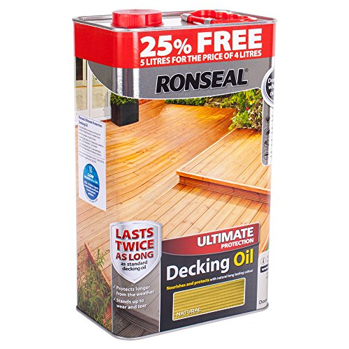 Ronseal RSLUDON4LAV Ultimate Protection Decking Oil Natural, Clear, 5 Litre