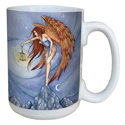 Tree-Free Greetings lm43600 15 oz Fantasy Lighting The Way Fairy Ceramic Mug with Full Sized Handle