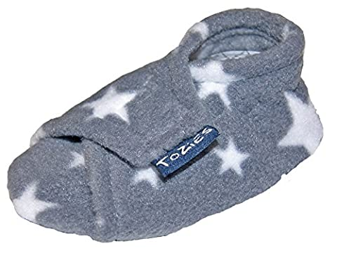 TOZIES Baby Toddler Boys Girls Soft Indoor Play Shoes / Slippers NON SLIP / STAY ON -SOFT GREY (12-18 m)STARS
