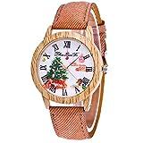 Souarts Damen Retro Armbanduhr Weihnachtsbaum Muster Holz Maser Damenuhren Casual Quarz Uhren mit Batterie Braun