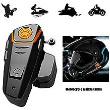 KOBWA Casco de Moto Bluetooth Auriculares Manos Libres Dispositivo, Impermeable Moto esquí Walkie Talkie con