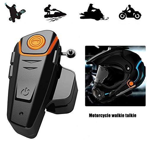 KOBWA Casco de Moto Bluetooth Auriculares Manos Libres Dispositivo, Impermeable Moto esquí...