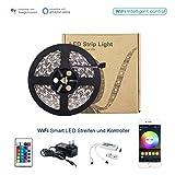 Magic LED WIfi Smart RGB Streifen und Wifi Controller Set LED Strip mit app-gesteuert 16 Mio Farben funktioniert mit Amazon Alexa, Goolge Home 5M 150LEDs 5050 EU Stromkabel Wasserdicht IP65(Led Strip und Wifi Kontrolle)
