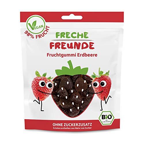 Freche Freunde Bio Fruchtgummi Erdbeere, Frucht Snack ohne Zuckerzusatz, mit 98 % Fruchtanteil, vegan, 14er Pack (14x 30 g)