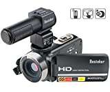 Fotocamera Videocamera, Besteker Full HD Video fotocamera 24 MP 1080p 30 FPS 3.0 inches Touch Screen 10 X Zoom ottico e zoom digitale 120 X con obiettivo grandangolare e microfono esterno