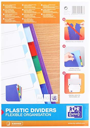 Oxford 400013939 Kunststoff-Register Strong-Line blanko 10-teilig für DIN A4 Plastikregister mit beschriftbarem Deckblatt blau rot grün gelb Ringbuch Ordner Ring-Mappe