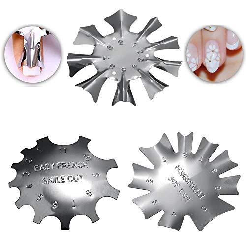 Nail Art Modello Piastra, Piastra in Acciaio Inox French Manicure Model Stamper Nail Stencil Design Kit di Attrezzi (Confezione da 3)